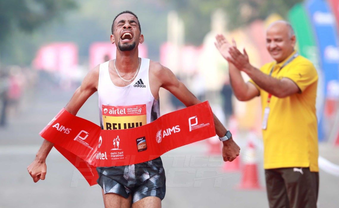 Ethiopia's Andamlak Belihu wins at the Airtel Delhi Half Marathon 2019 / Photo credit: Procam International