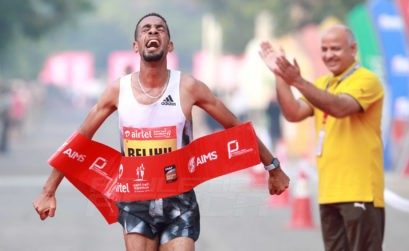 Ethiopia's Andamlak Belihu wins at the Airtel Delhi Half Marathon 2019 / Photo credit: Procam International