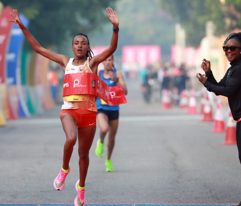 Ethiopia's Tsehay Gemechu wins at the ADHM 2019 in a women's course record / Photo credit: Procam International